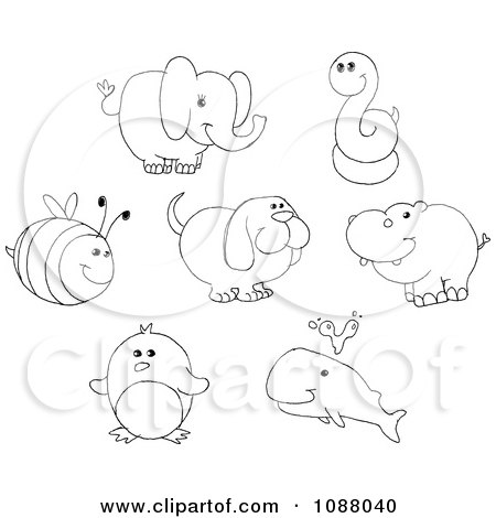 Clipart Outlined Bee Elephant Snake Dog Hippo Penguin And Whale - Royalty Free Vector Illustration by yayayoyo