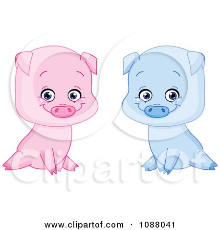 Clipart Cute Sitting Blue And Pink Boy And Girl Piglets - Royalty Free Vector Illustration by yayayoyo