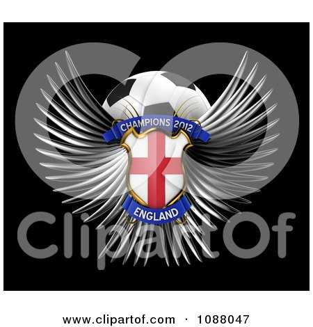 Clipart 3d Winged England Shield And Soccer Ball - Royalty Free CGI Illustration by stockillustrations