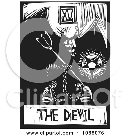Clipart Woodcut Styled Devil Tarot Card In Black And White - Royalty Free Vector Illustration by xunantunich