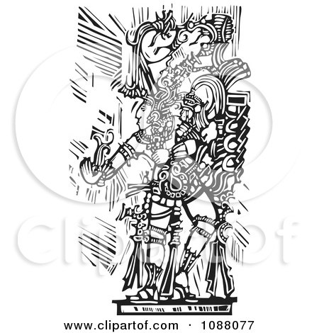Clipart Mayan Warrior Or King Holding Out A Hand Black And White Woodcut - Royalty Free Vector Illustration by xunantunich