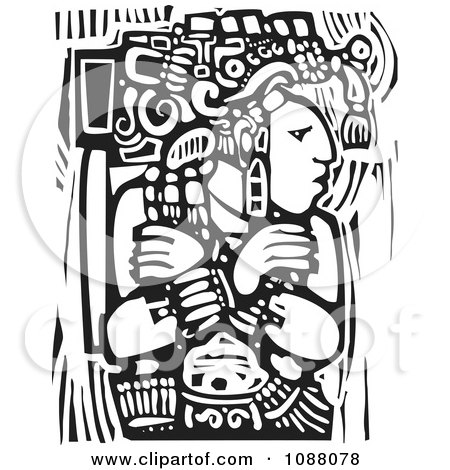 Mayan Warrior King With Arms Crossed Black And White Woodcut Posters, Art Prints
