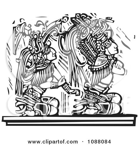 Clipart Mayan Warrior Seated Behind A King Black And White Woodcut - Royalty Free Vector Illustration by xunantunich