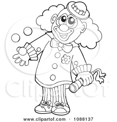 Clipart Outlined Clown Juggling With One Hand - Royalty Free Vector Illustration by visekart