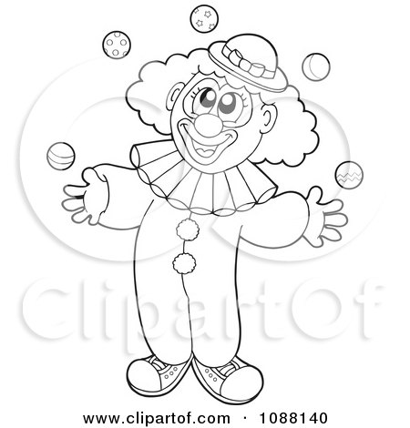 Clipart Outlined Clown Juggling - Royalty Free Vector Illustration by visekart