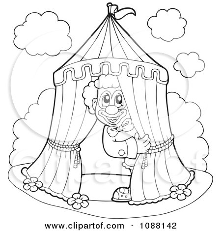Clipart Outlined Circus Clown Peeking Out Of A Big Top Tent - Royalty ...