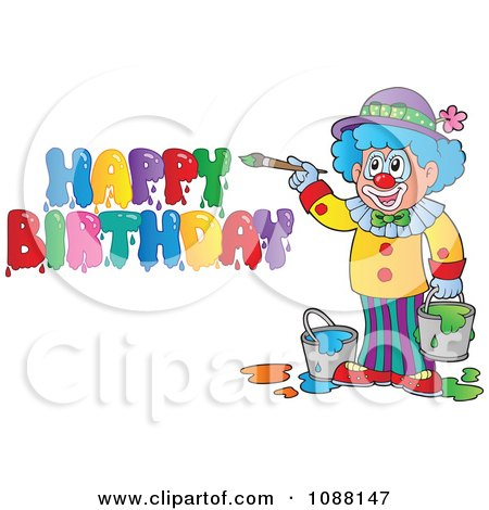 Clipart Artist Clown Painting Happy Birthday - Royalty Free Vector Illustration by visekart