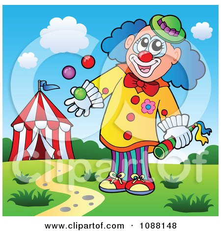 Clipart Clown Juggling With One Hand - Royalty Free Vector Illustration by visekart