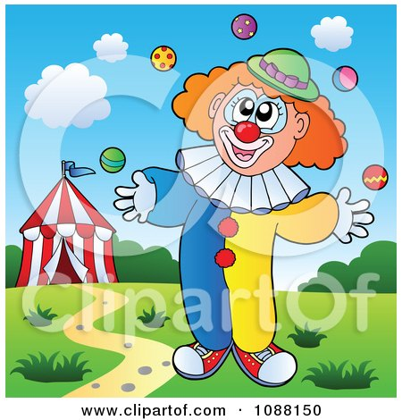 Clipart Clown Juggling - Royalty Free Vector Illustration by visekart