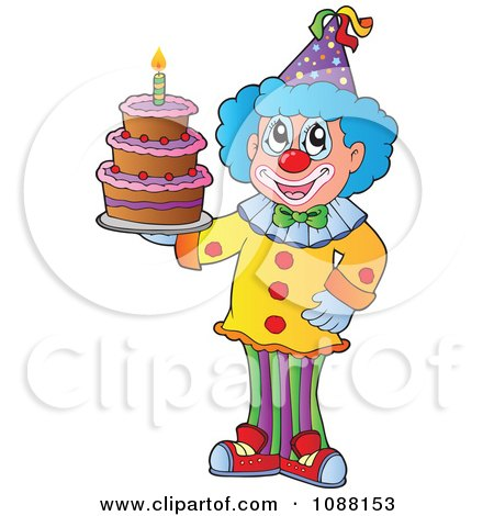 Clipart Circus Clown Holding A Birthday Cake - Royalty Free Vector Illustration by visekart