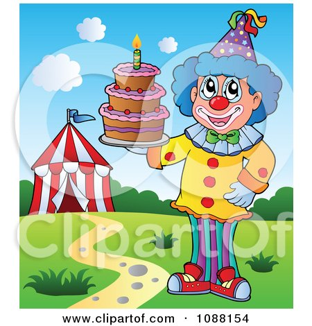 Clipart Circus Clown Holding A Cake - Royalty Free Vector Illustration by visekart