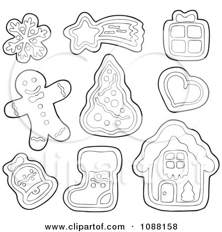 Clipart Outlined Christmas Snowflake Star Gift Heart Tree Bell Stocking House And Man Gingerbread Cookies - Royalty Free Vector Illustration by visekart