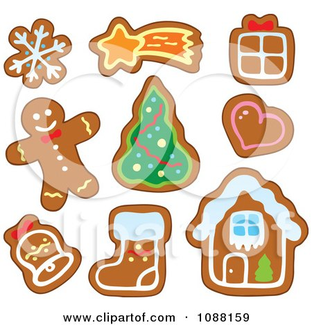 clipart christmas snowflake star gift heart tree bell stocking house rh clipartof com christmas cookies clipart black and white christmas cookies clipart free
