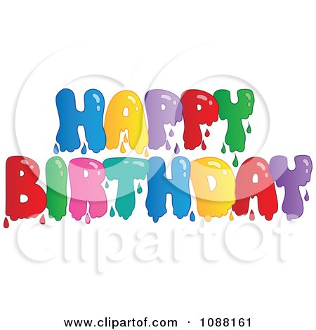 Clipart Dripping Painted Happy Birthday Greeting - Royalty Free Vector Illustration by visekart