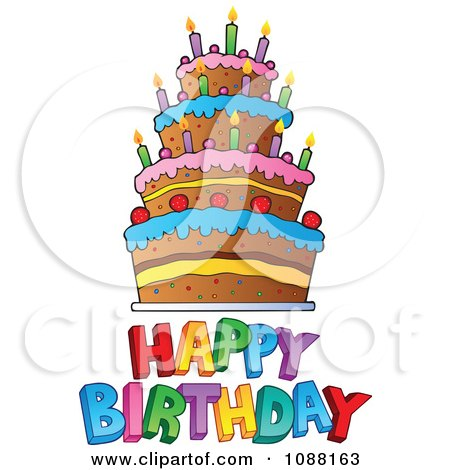 Clipart Happy Birthday Greeting And Cake - Royalty Free Vector Illustration by visekart