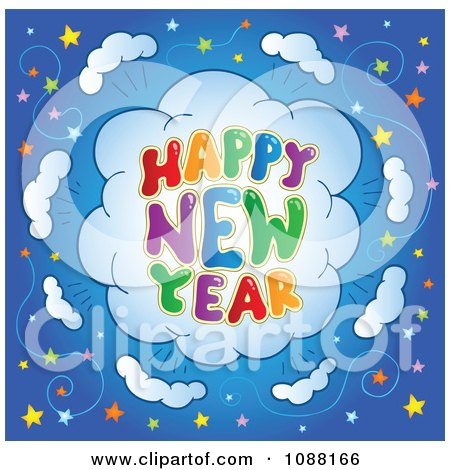 clipart happy new year firework explosion with stars royalty free vector illustration by visekart
