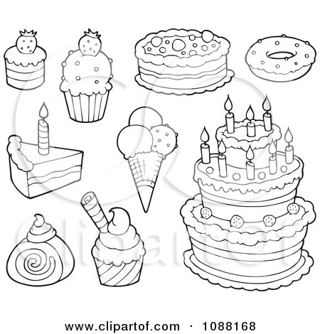 Clipart Outlined Cakes Ice Cream And Desserts - Royalty ...