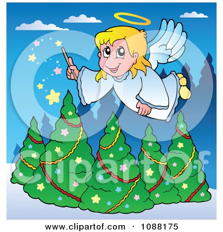 Clipart Christmas Angel Girl With A Magic Wand Over Trees - Royalty Free Vector Illustration by visekart