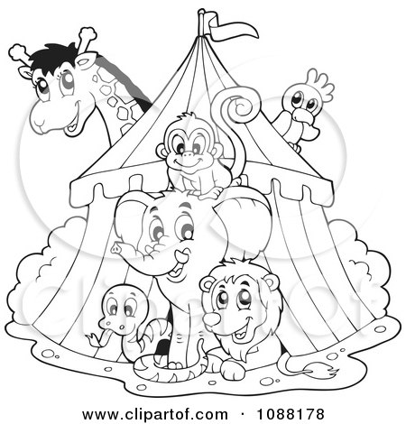 Clipart Outlined Big Top Circus Tent And Animals - Royalty Free Vector Illustration by visekart
