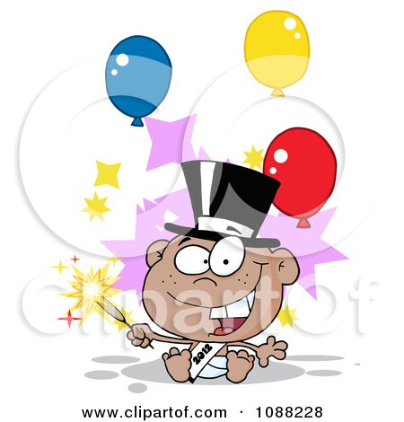 Clipart Black New Year 2012 Baby With A Top Hat Sparkler And Party Balloons - Royalty Free Vector Illustration by Hit Toon