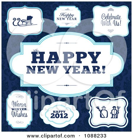 Clipart White And Blue Happy New Year And Winter Frames - Royalty Free Vector Illustration by BestVector