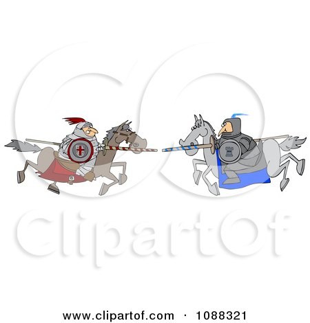 Clipart Jousting Knight Opponents Racing Towards Each Other With Lances - Royalty Free Vector Illustration by djart