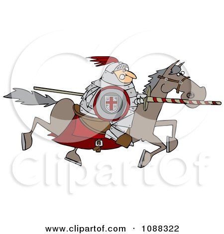 Medieval Jousting Knight Racing Forward With The Lance Down Posters, Art Prints