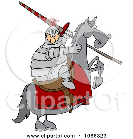 Clipart Medieval Jousting Knight Holding A Lance On A Rearing Horse - Royalty Free Vector Illustration by djart