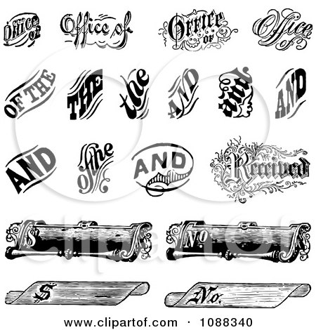 Clipart Black And White Vintage Word And Scroll Design Elements - Royalty Free Vector Illustration by BestVector