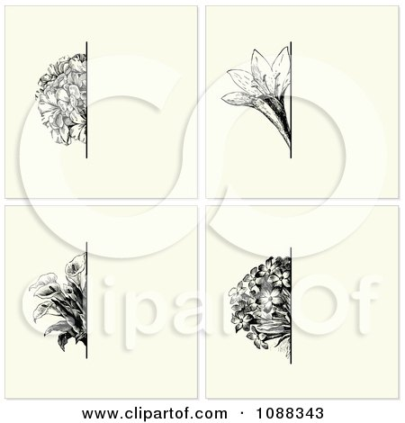 Clipart Vintage Black Flower And Beige Invitation Backgrounds - Royalty Free Vector Illustration by BestVector