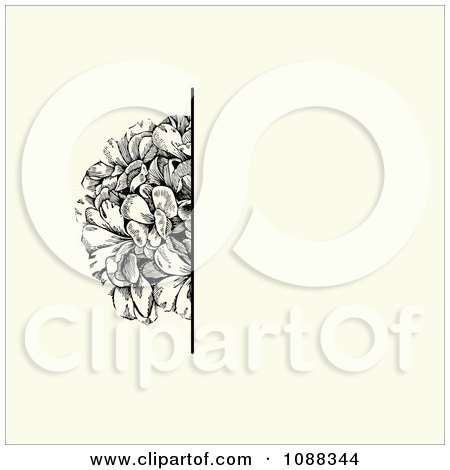Clipart Vintage Black Flower And Beige Invitation Background - Royalty Free Vector Illustration by BestVector