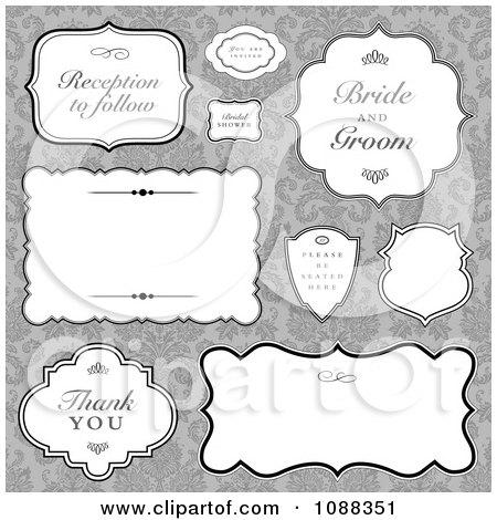 Free Vector Labels on Vintage Wedding Label Frames Over Gray Damask   Royalty Free Vector