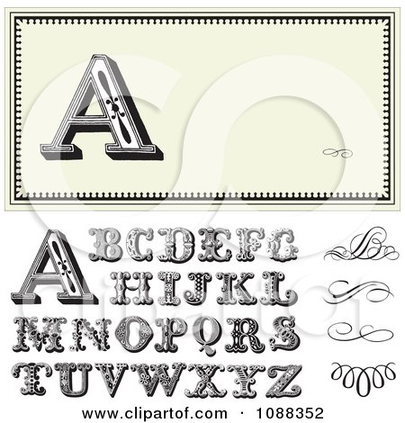 Clipart Beige Letter Frame With Ornate Letters And Swirls - Royalty Free Vector Illustration by BestVector