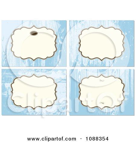 Clipart Four Frames Over Blue Wood Backgrounds - Royalty Free Vector Illustration by BestVector