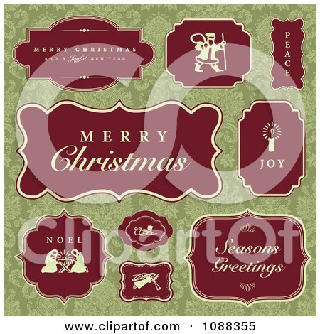 Clipart Red Christmas Labels Over Green Damask - Royalty Free Vector Illustration by BestVector