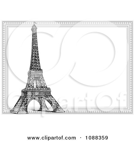 clipart black and white eiffel tower and frame royalty free vector illustration by bestvector - Eiffel Tower Picture Frame