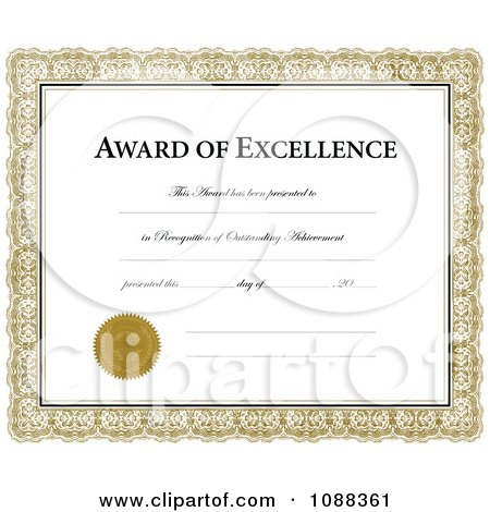 clipart award of excellence certificate with a golden frame royalty free vector illustration by bestvector