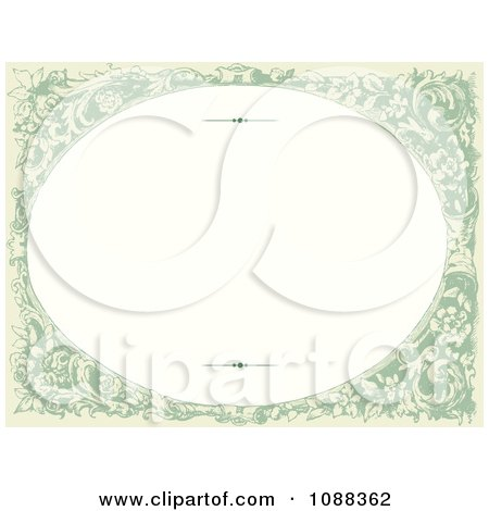 Clipart Green Oval Victorian Floral Frame With Copyspace - Royalty Free Vector Illustration by BestVector