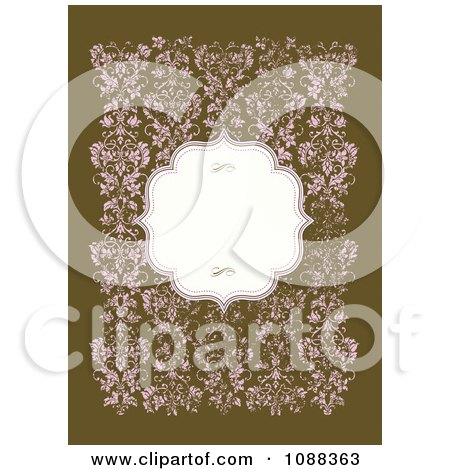 Clipart Blank Frame Over Distressed Pink Flowers On Green - Royalty Free Vector Illustration by BestVector