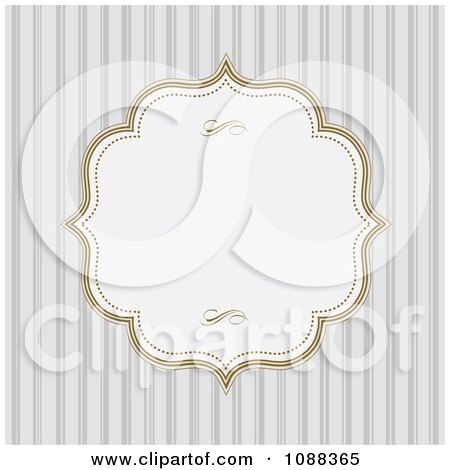 Clipart White Frame With Gold Edges Over Gray Stripes - Royalty Free Vector Illustration by BestVector