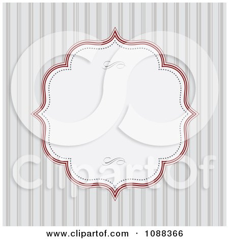 Clipart White Frame With Red Edges Over Gray Stripes - Royalty Free Vector Illustration by BestVector