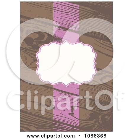Clipart White And Pink Frame And Stripe On Wooden Planks - Royalty Free Vector Illustration by BestVector