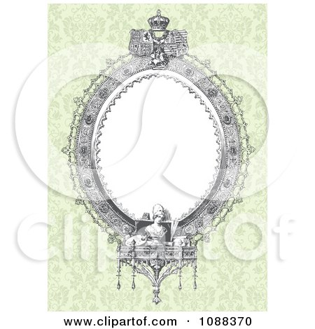 Clipart Victorian Oval Frame And Statues Over Green Damask - Royalty Free Vector Illustration by BestVector