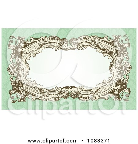 Clipart Victorian Wedding Frame With White Copyspace On Green Damask - Royalty Free Vector Illustration by BestVector