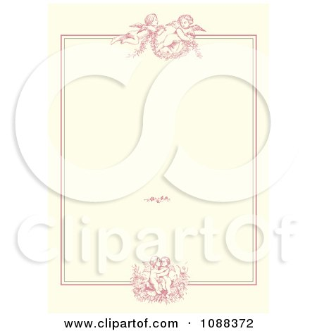 Clipart Pink Victorian Cupid Wedding Or Valentine Frame On Beige - Royalty Free Vector Illustration by BestVector