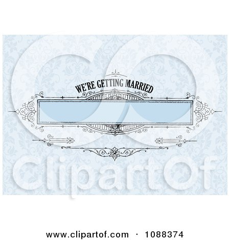 Clipart Blue Were Getting Married Vintage Banner Over Damask - Royalty Free Vector Illustration by BestVector
