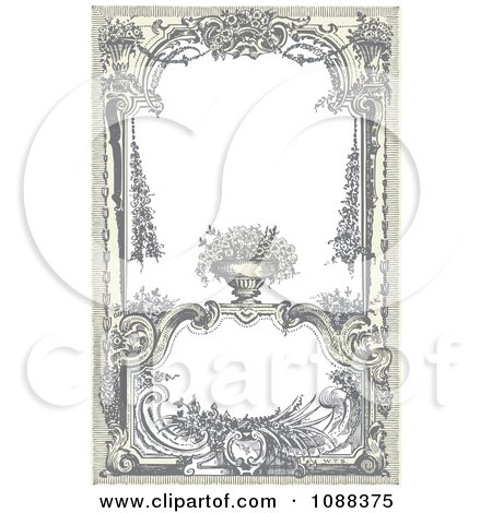 Clipart Vintage Victorian Frame With A Floral Urn - Royalty Free Vector Illustration by BestVector