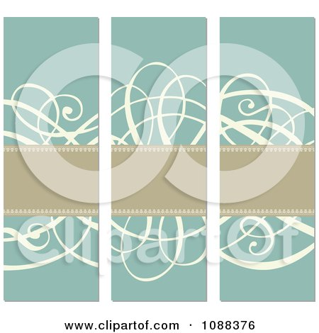Clipart Tan Banners And Beige Swirls Over Turquoise - Royalty Free Vector Illustration by BestVector
