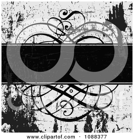 Clipart Black And White Ornate Swirl Text Bar And Grunge - Royalty Free Vector Illustration by BestVector