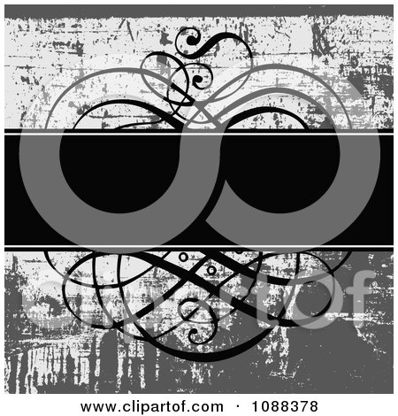 Clipart Black Text Bar With Ornate Swirls Over Grungy Gray - Royalty Free Vector Illustration by BestVector